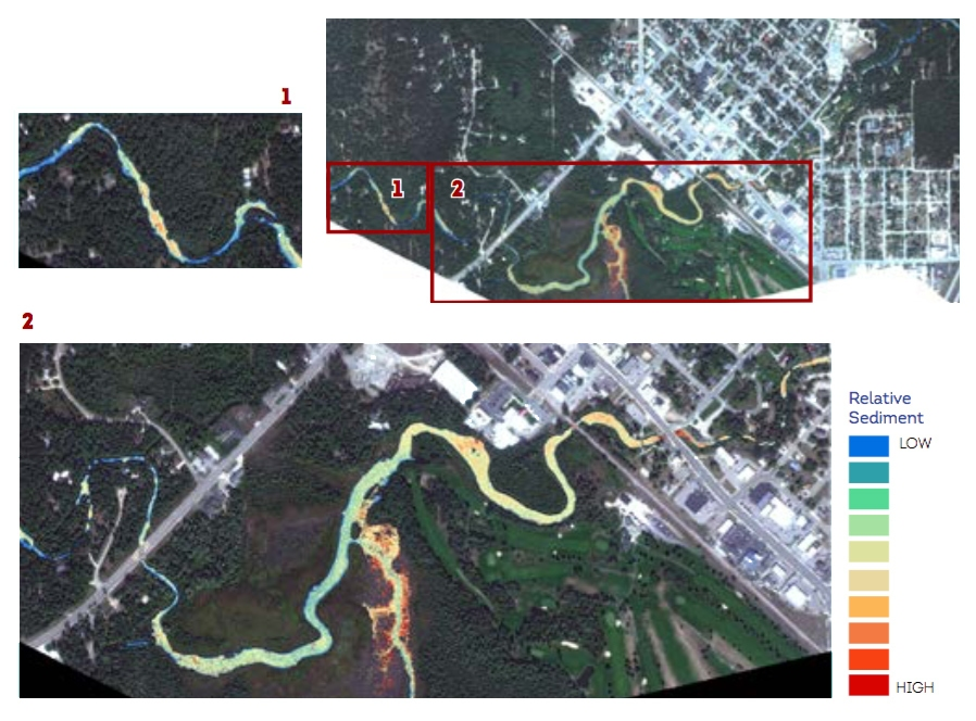 These images were acquired over the Au Sable River area of interest near Grayling, MI. The Au Sable River is one of the cleanest recreational rivers in Michigan. Old infrastructure, increased recreational use, and watershed changes are leading to sediment accumulation.
