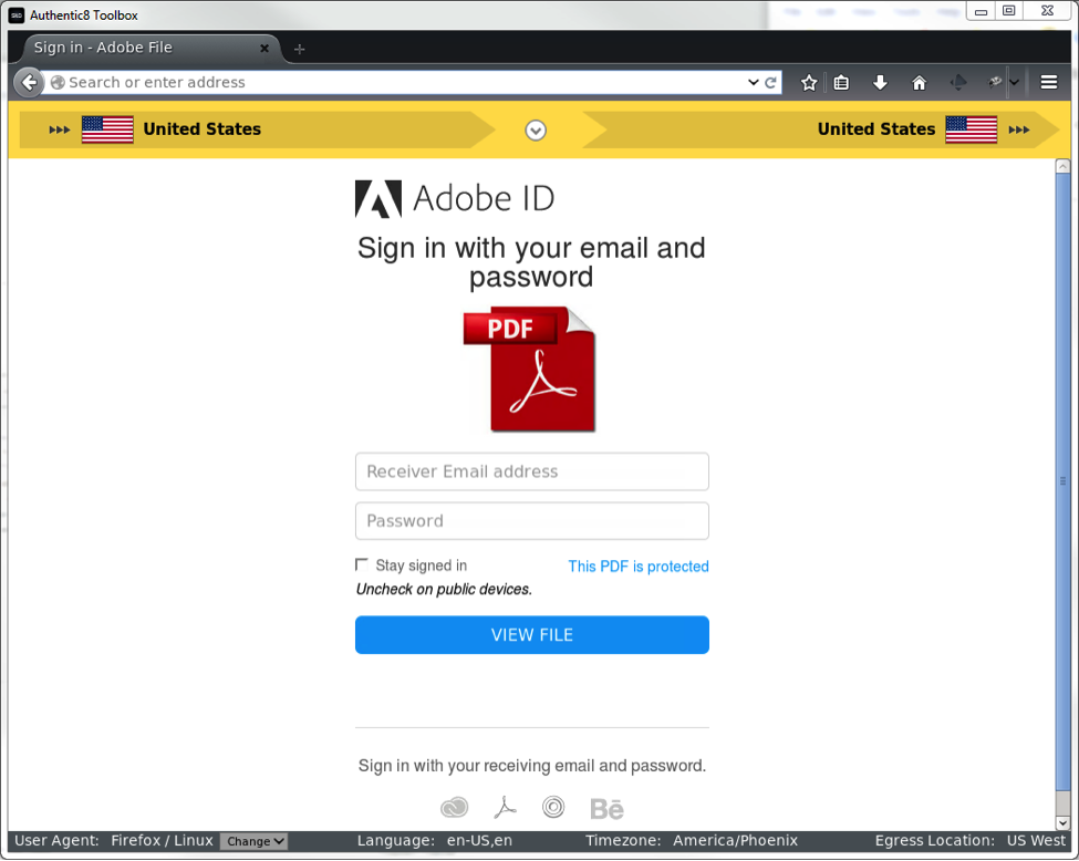 Login page from phishing attack