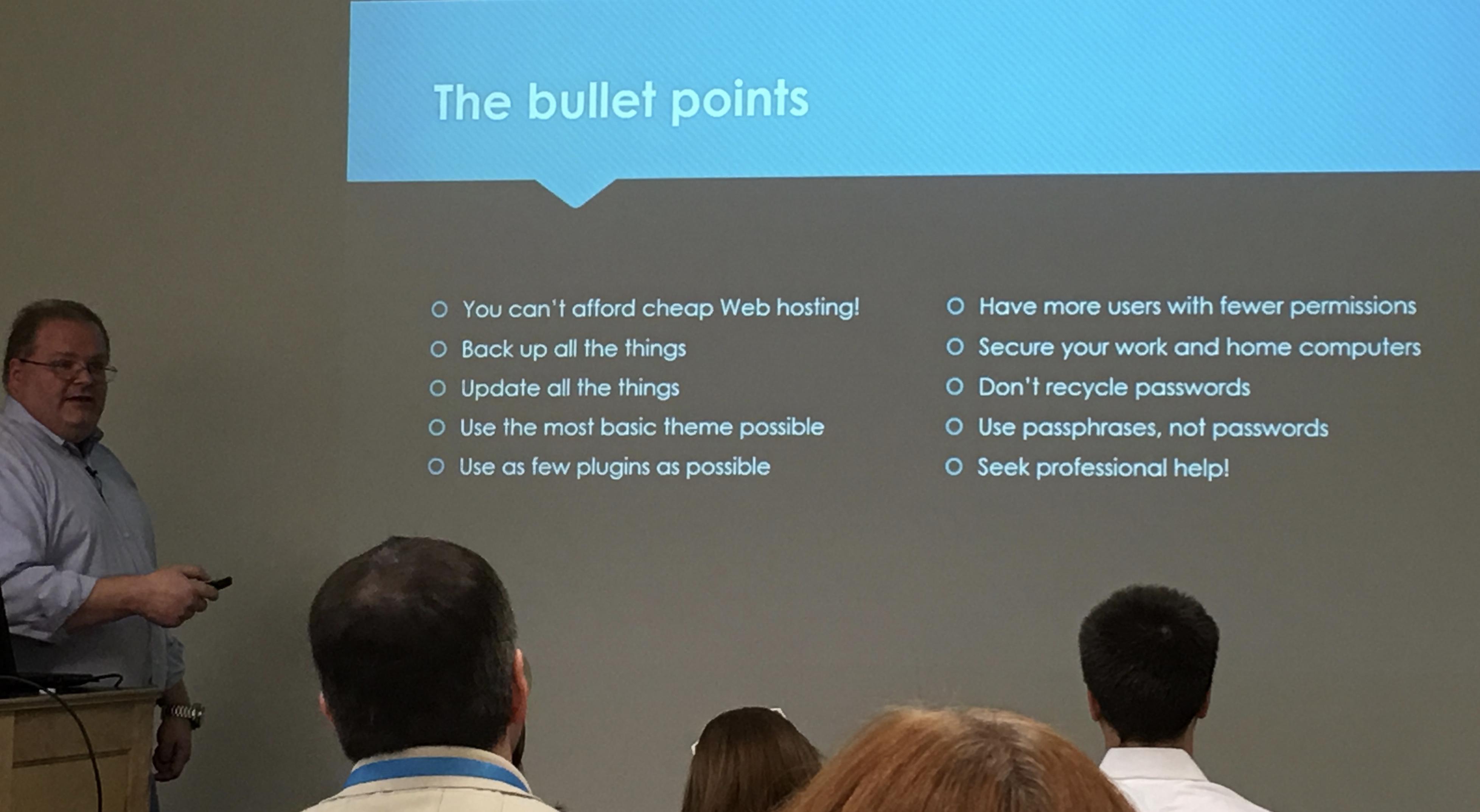 Doug Vanderweide discussing security best practices for WordPress websites.