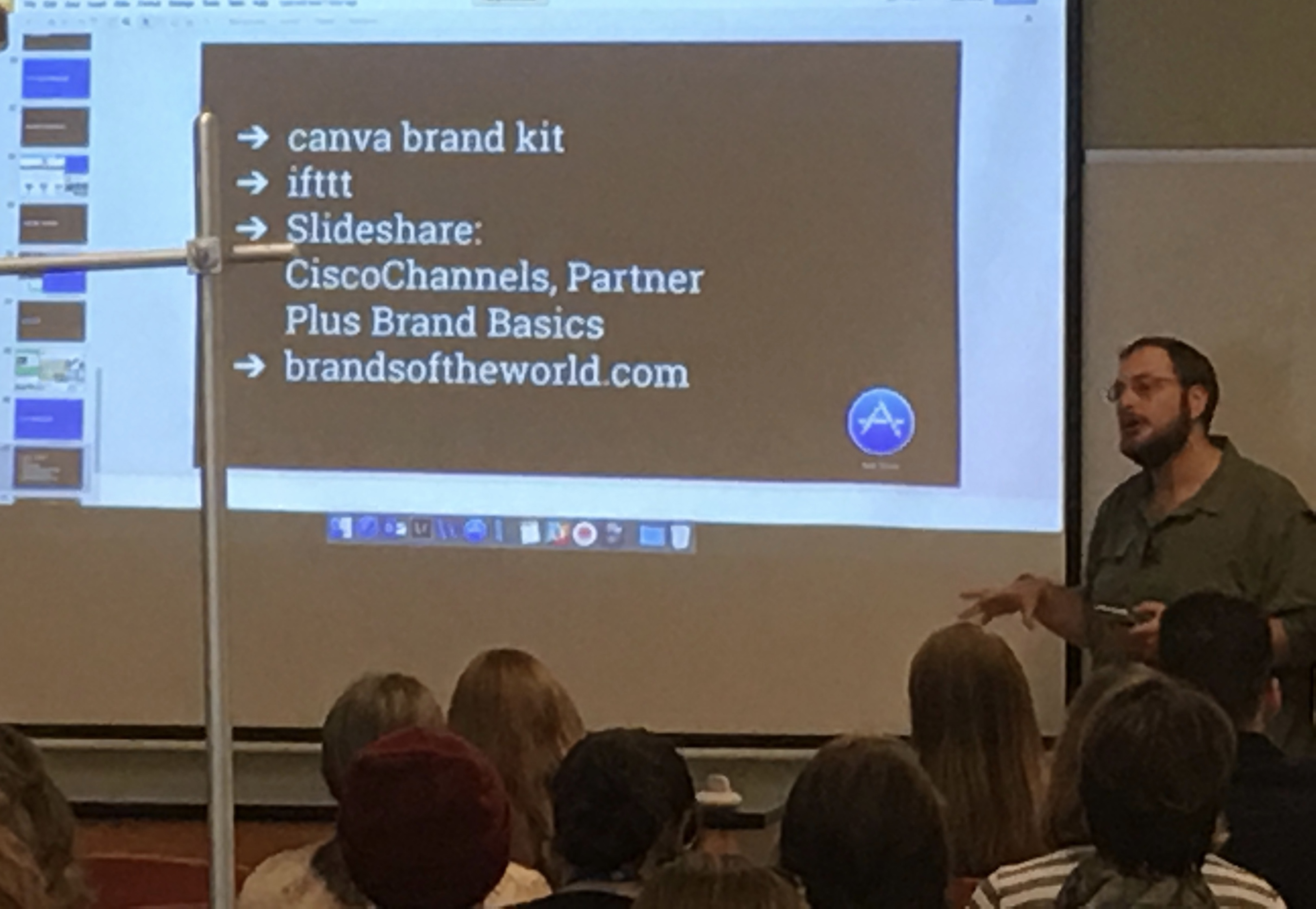 Mendel Kurland suggesting branding tools inspiration.