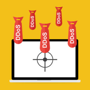 DDoS attack bombs dropping on a laptop