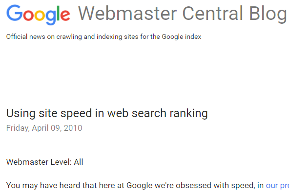 Google uses site speed in SEO ranking