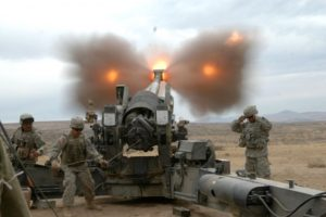 Fort Lewis Soldiers from the US Army 17th Field Artillery Brigade fire an M198, 155mm howitzer at the Yakima Training Center in Washington.