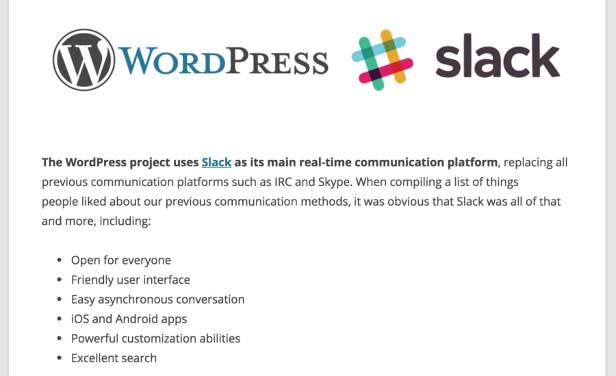 WordPress Slack Channels