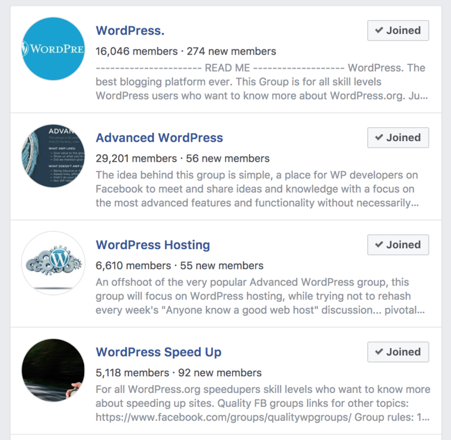 WordPress Facebook Groups