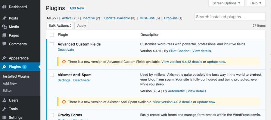 Plugin updates page