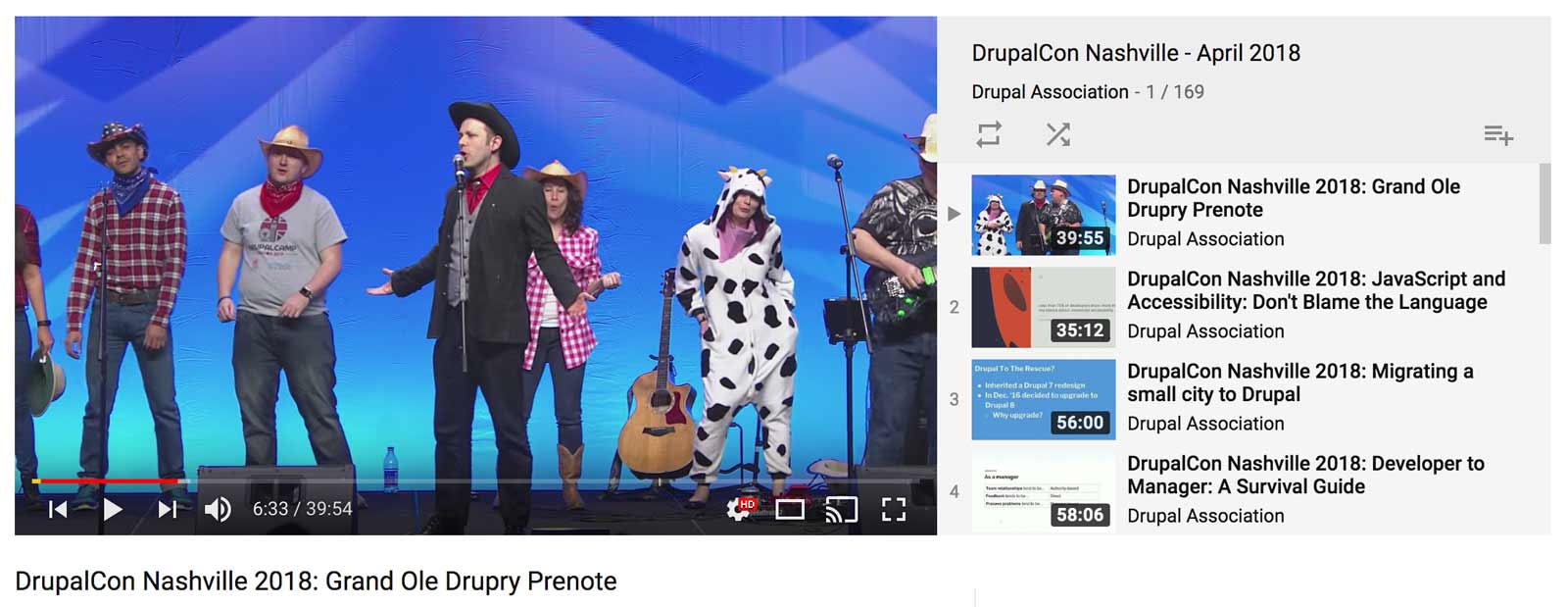 DrupalCon Nashville YouTube station
