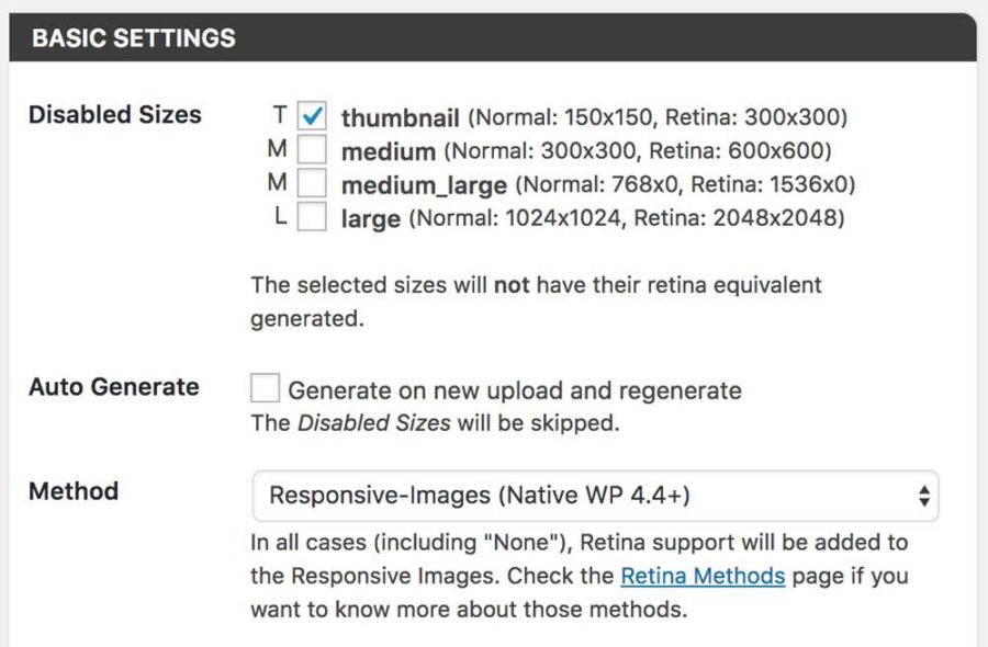 WP Retina 2x Plugin Basic Settings
