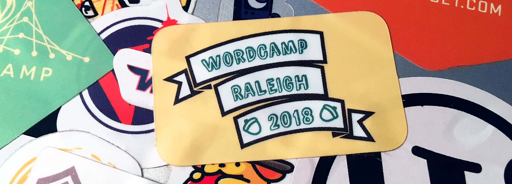 WordCamp Raleigh 2018 stickers