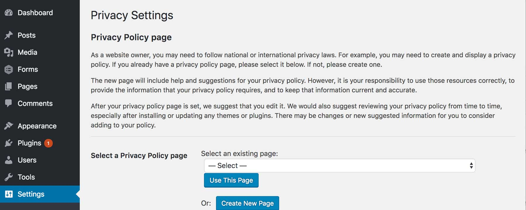 WordPress 4.9.6 privacy settings page