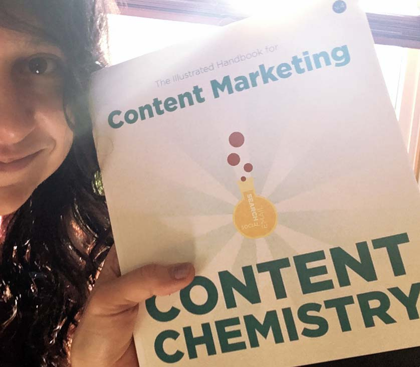 Jamie Schmid with Content Chemistry book