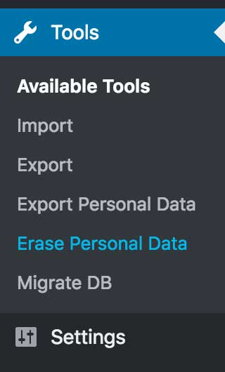 Personal Data Export and Erase admin menu