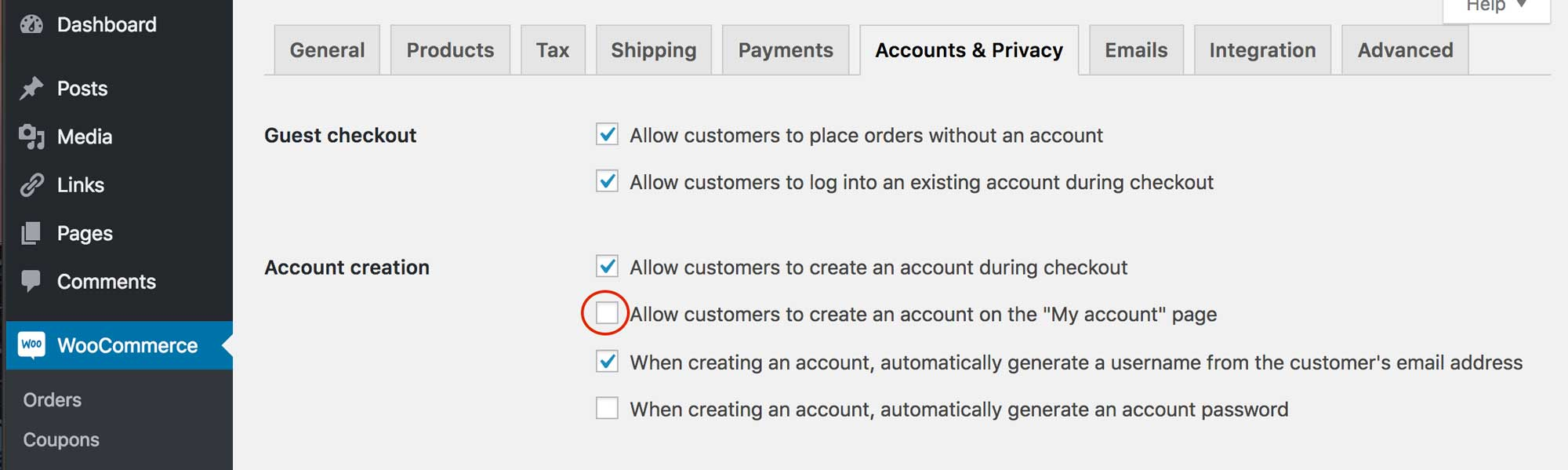 WooCommerce my account checkbox