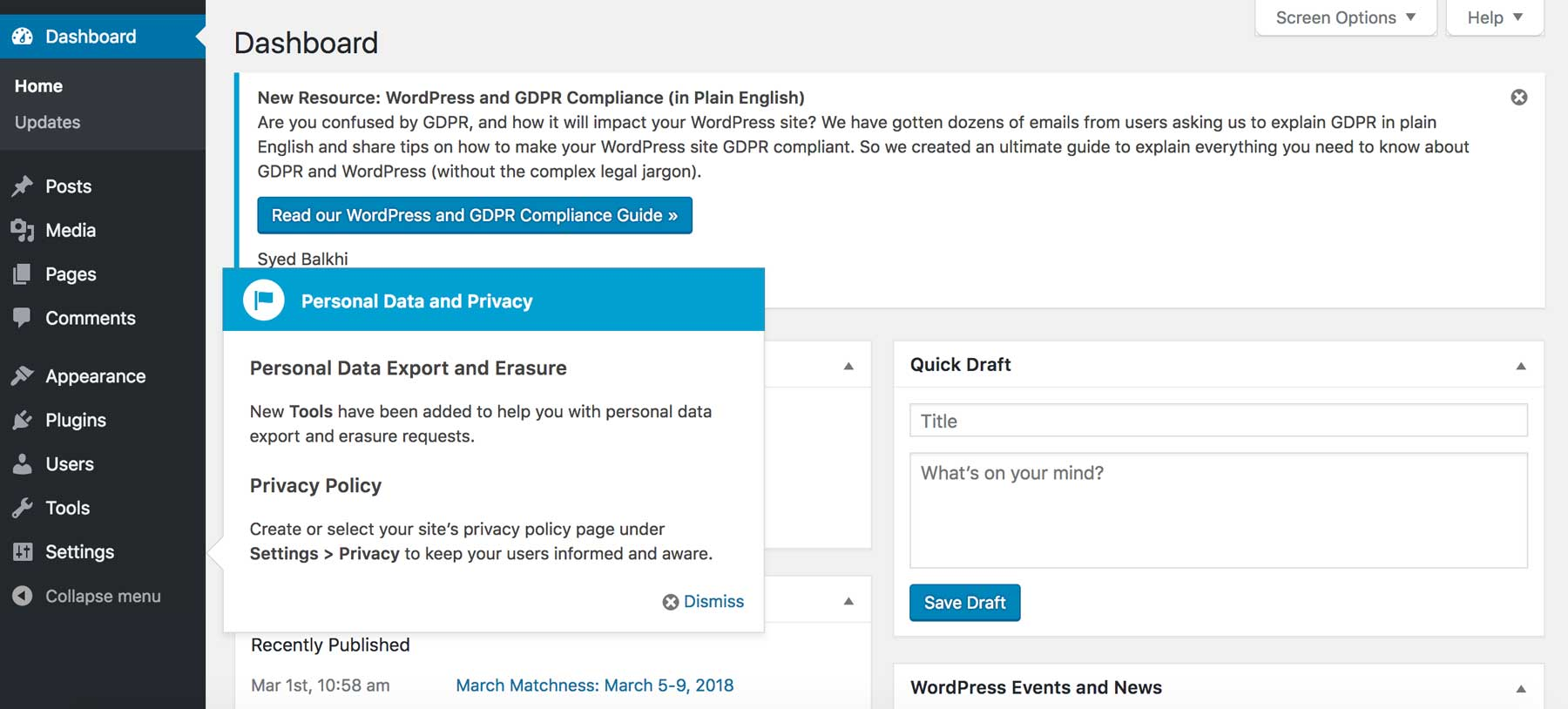 WordPress Privacy Features notification