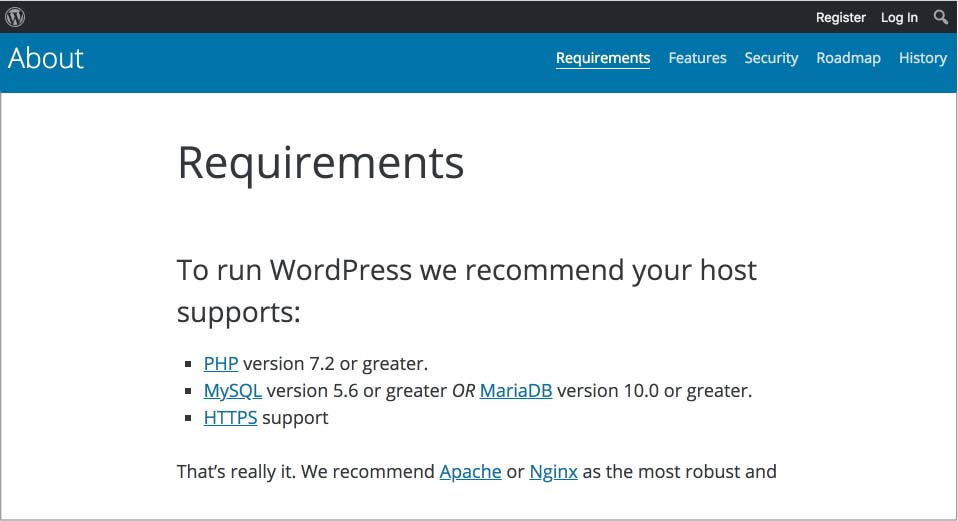 WordPress technical requirements on wordpress.org