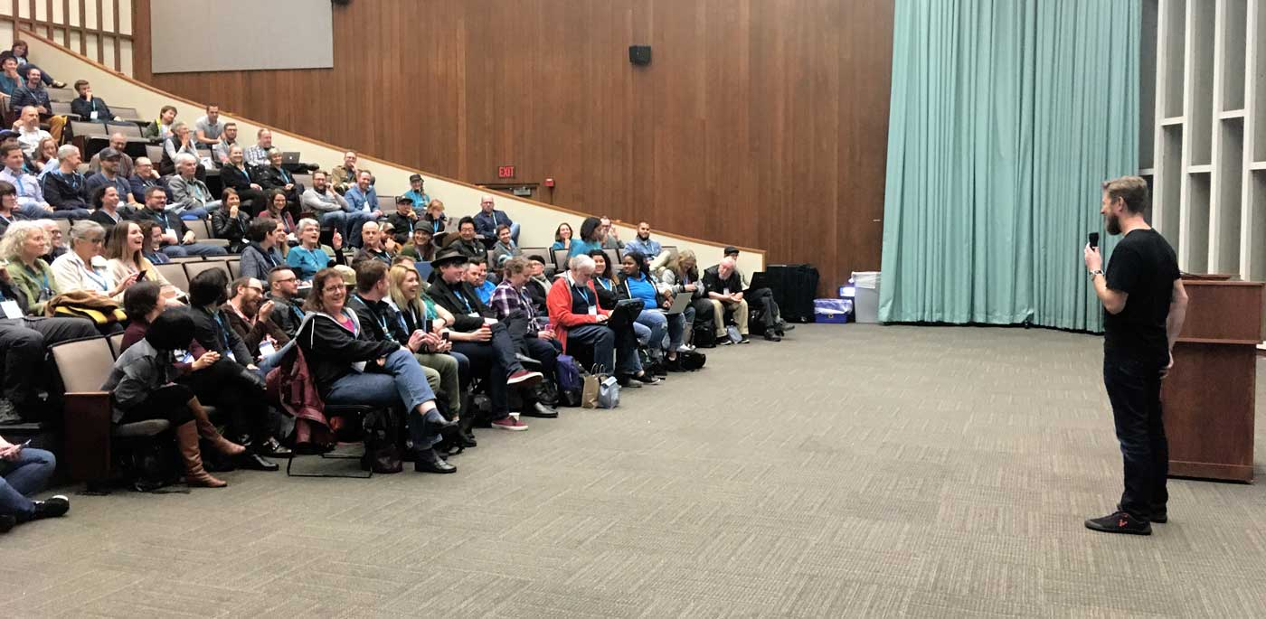 Matt Mullenweg speaking to the WCPDX audience