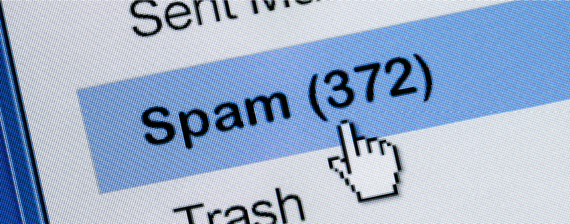 Mouse cursor pointing to an inbox spam folder showing 372 spam emails.
