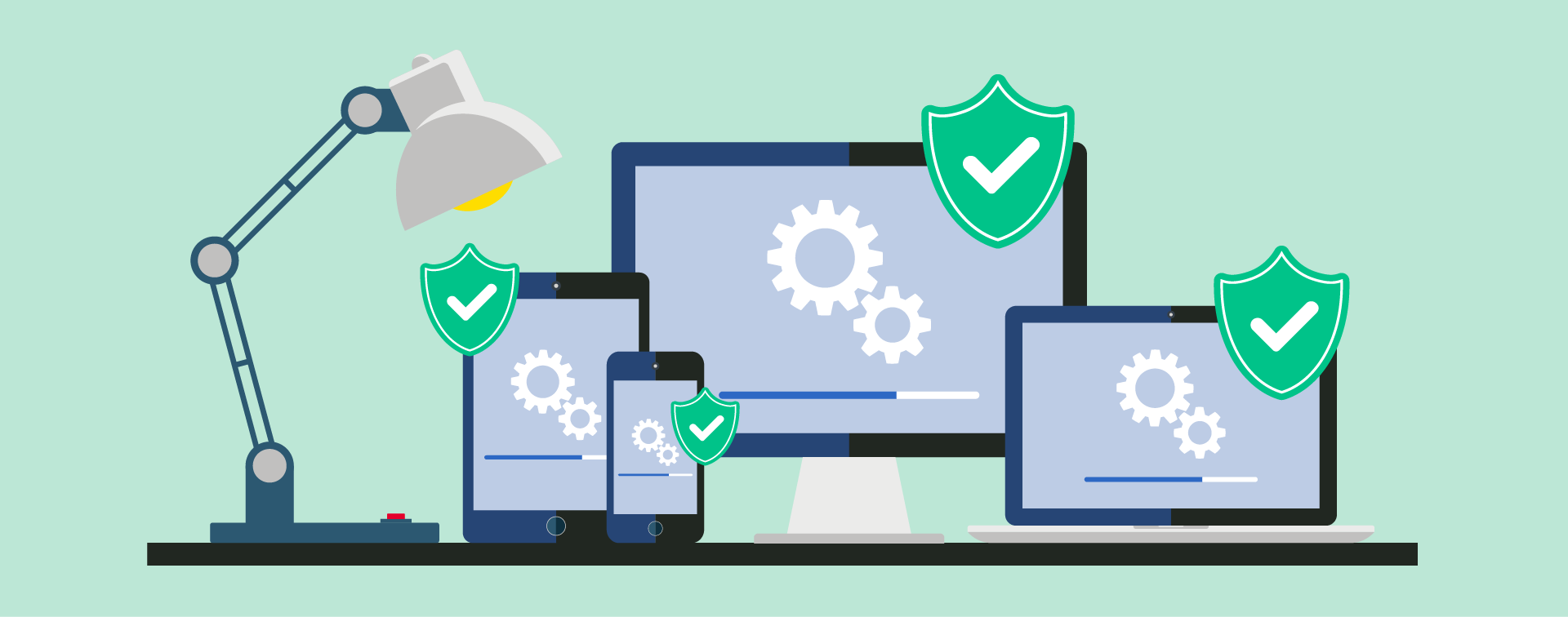 Desktop, mobile and tablet devices displaying renewed SSL certificate shields