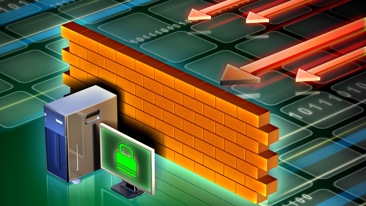 A wall protecting a computer, exactly what a web application firewall is supposed to do.