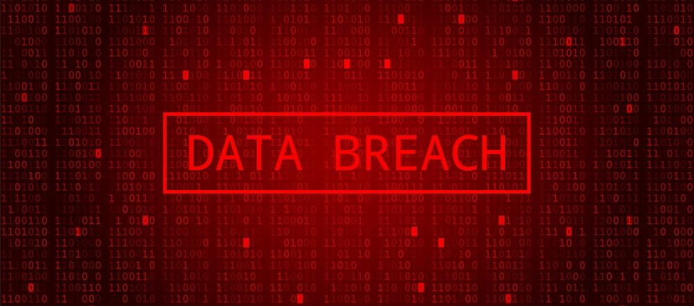 Digital Binary Code on Dark Red Background showing data breach.