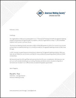 AWS Chicago Section 1st Annual Golf Outing Letter