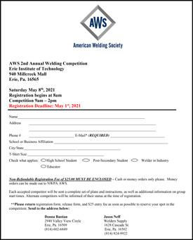 AWS Northwestern PA 2021 Weld Off Registration Form