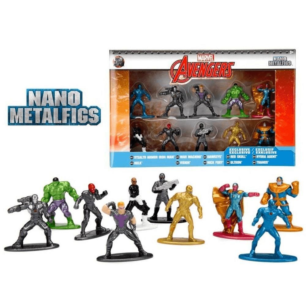 10 Bonecos Marvel Avengers Vingadores Nano Metalfigs - Dtc