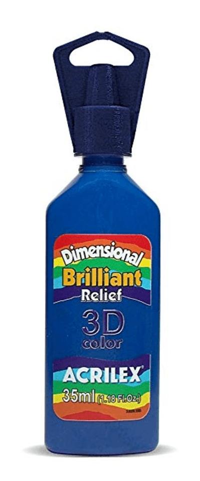Tinta Dimensional 3D Brilliant 35ml Azul Escuro Acrilex