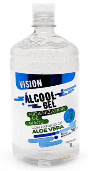 álcool em gel 70% com extrato de Aloe e Vera 1L - VISION