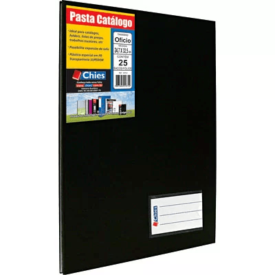 Pasta catálogo c/ 25 envelopes ofício preta c/ colchete 4005 Chies PT 1 UN