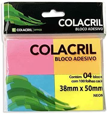 Bloco Adesivo para Recado Colacril Neon 38x50mm com 4 blocos