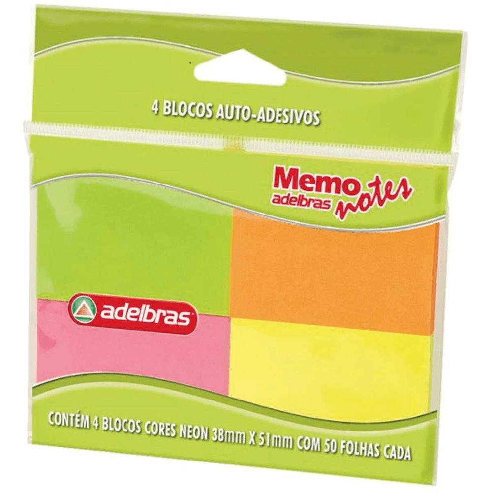 Bloco Auto Adesivo Memonote Neon 38x51 50fls 4 Unid