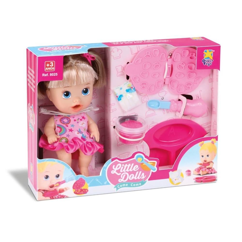 Boneca Little Dolls Come Come Loira Com Cabelo - Divertoys