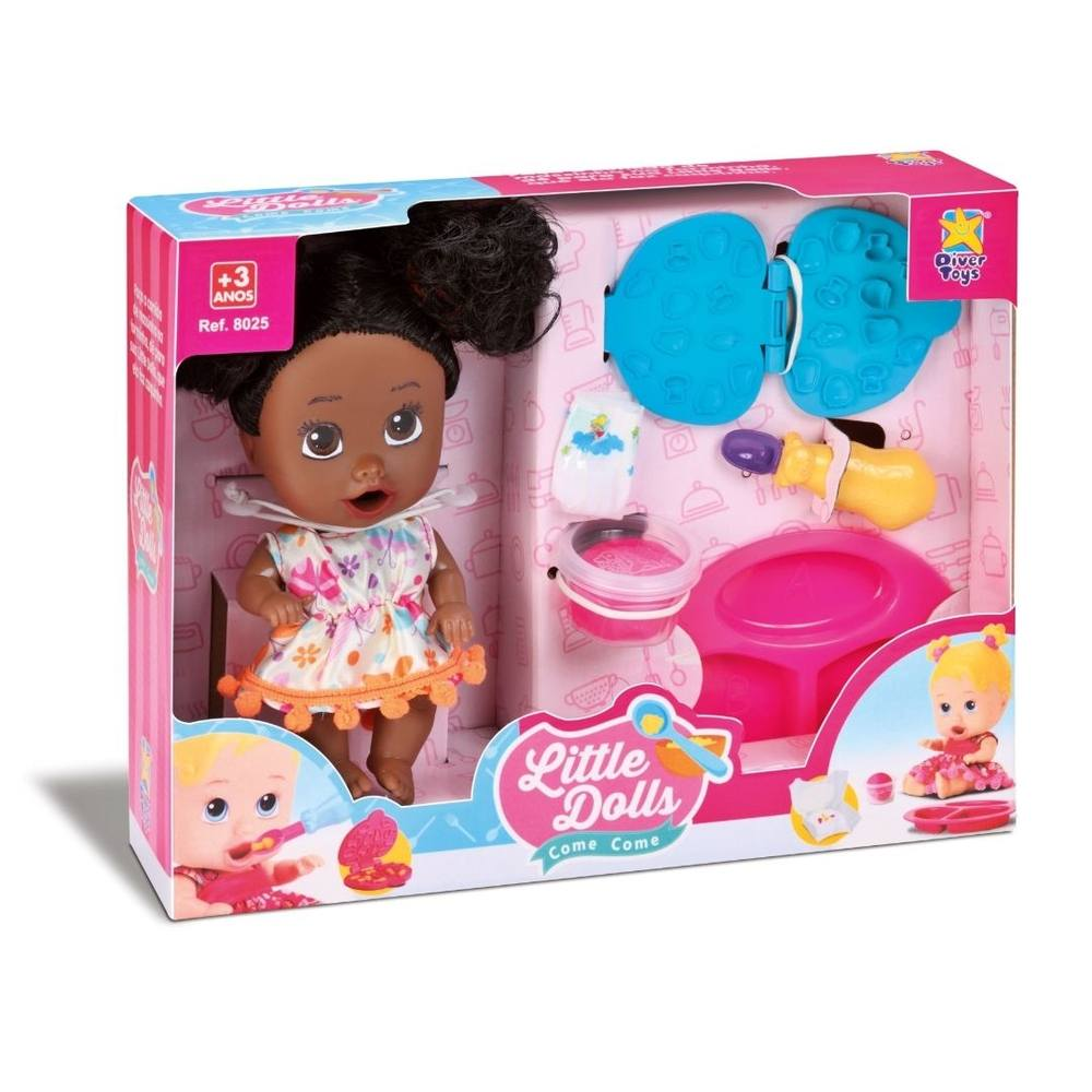 Boneca Little Dolls Come Come Negra - Divertoys