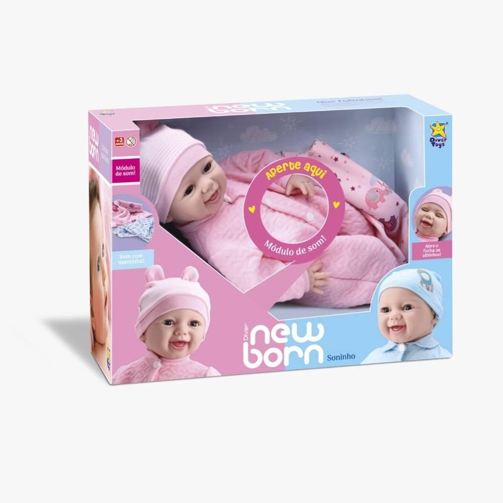 Boneca New Born Soninho Com Som E Acessórios Rosa (olho Movel) - Divertoys