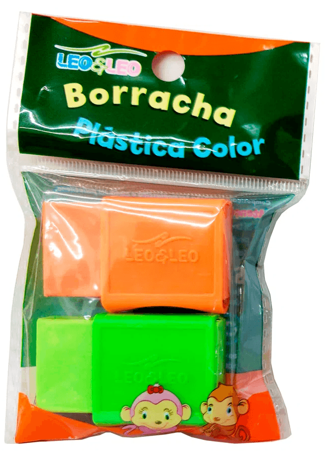 Borracha Plástica Color C/ 2 Unidades - LEO & LEO