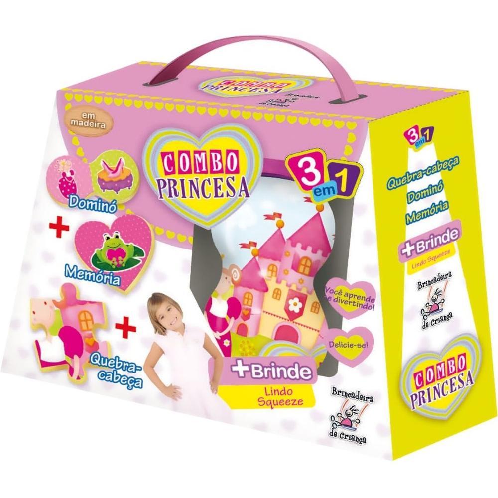 Brinquedo Pedagógico Madeira Combo Princesa 3 em 1 - Brincadeira de Criança - Squeeze de brinde