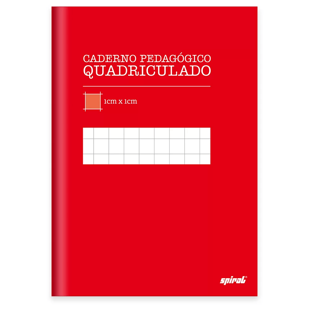 Caderno 1/4 capa dura costurado 96fls quadriculado vermelho 19960 Spiral PT 1 UN
