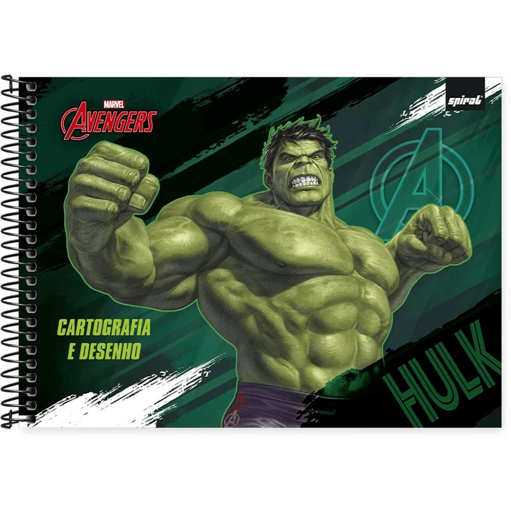 Caderno cartografia capa dura 48fl Avengers 212825 Spiral Av PT 1 UN