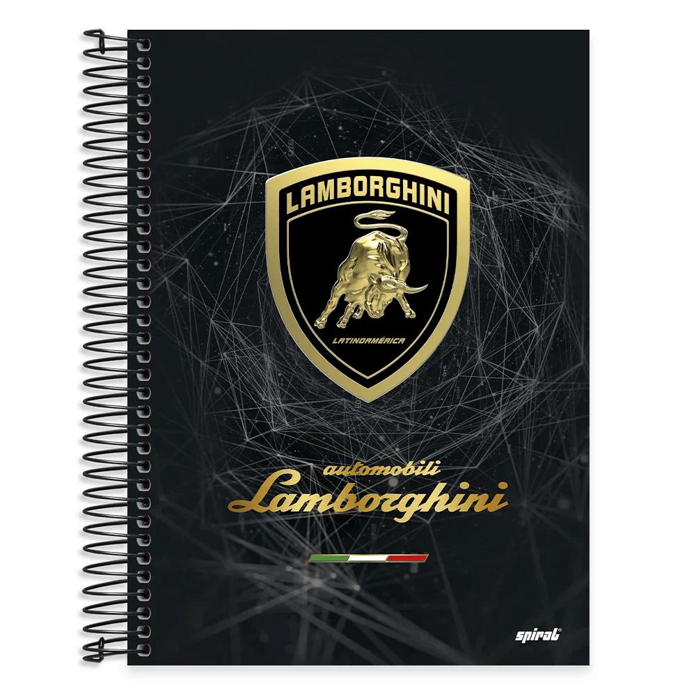 Caderno univ.capa dura 10x1 200fl Lamborghini 20473 Spiral Lb PT 1 UN
