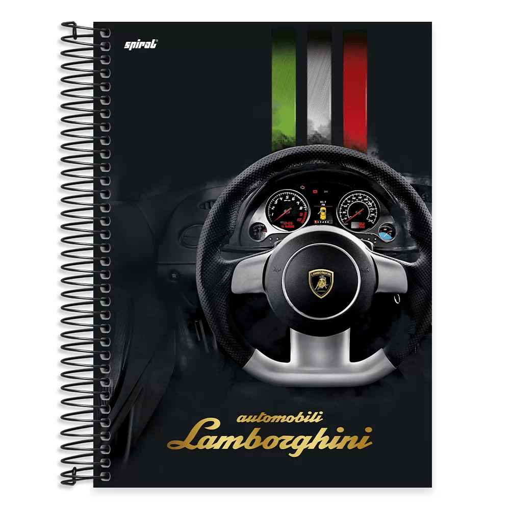 Caderno univ.capa dura 10x1 200fl Lamborghini 20474 Spiral Lb PT 1 UN