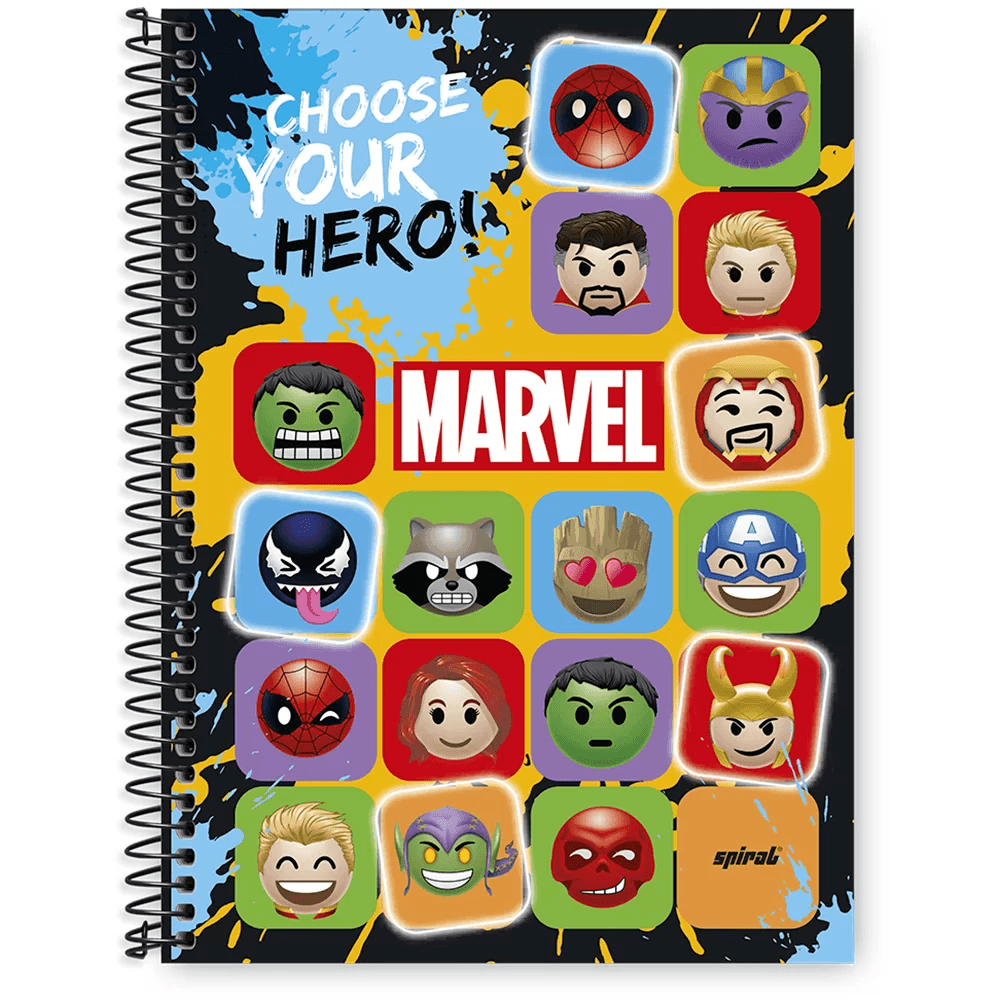 Caderno univ.capa dura 1x1 96 fls Marvel Emoji 20242 Spiral Mve PT 1 UN