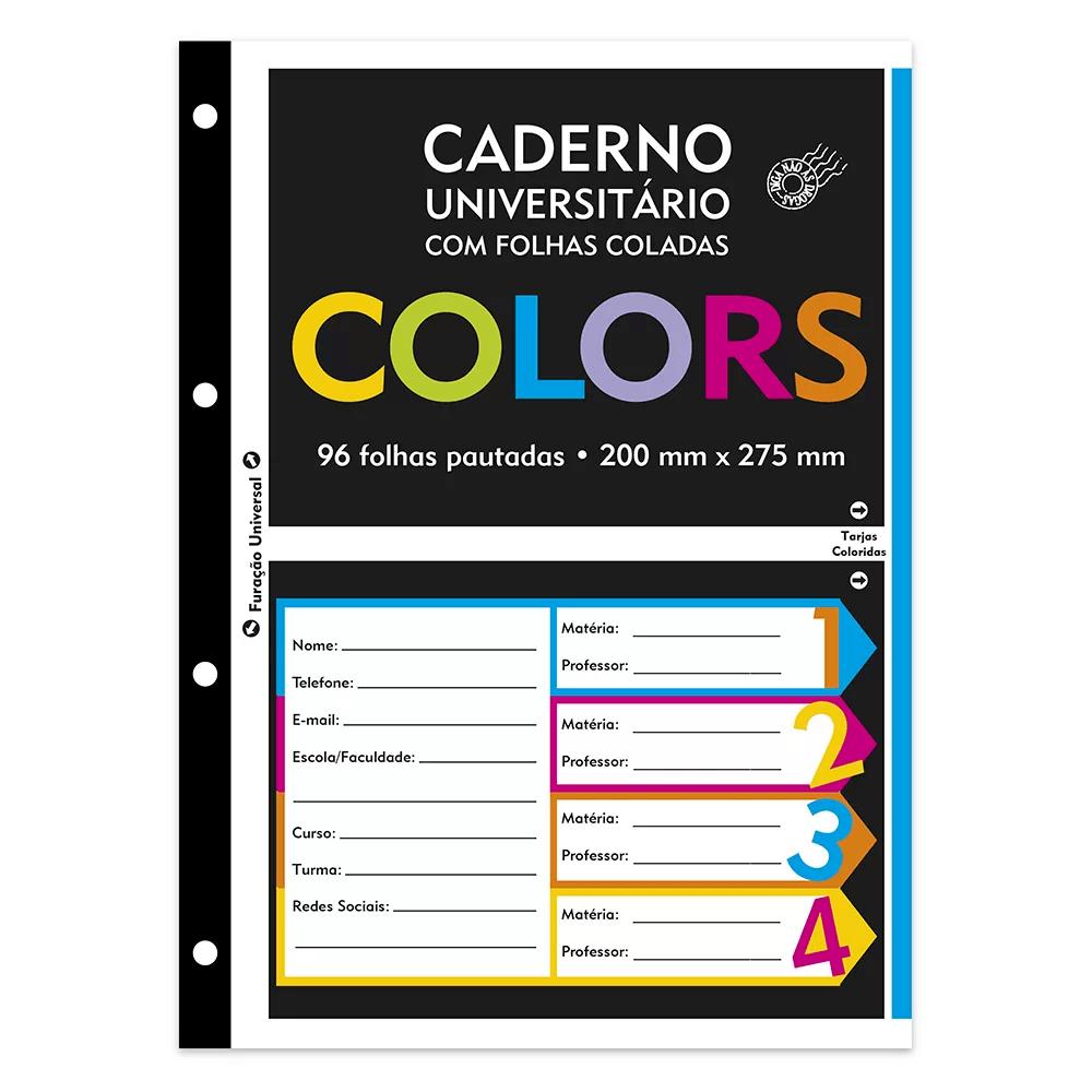 Caderno universitário c/96 fls coladas colors 74533 Spiral PT 1 UN