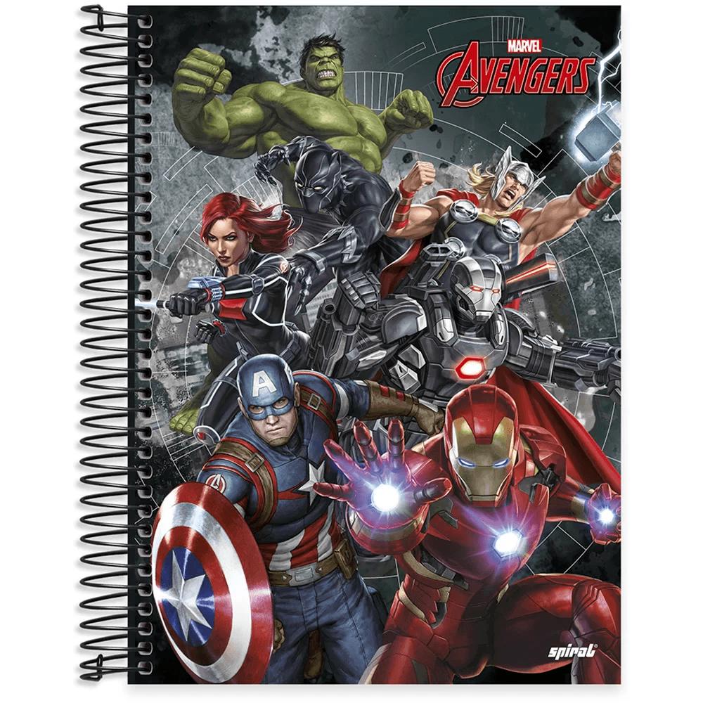 Caderno universitário capa dura 10x1 160 folhas Avengers 211807 Spiral PT 1 UN