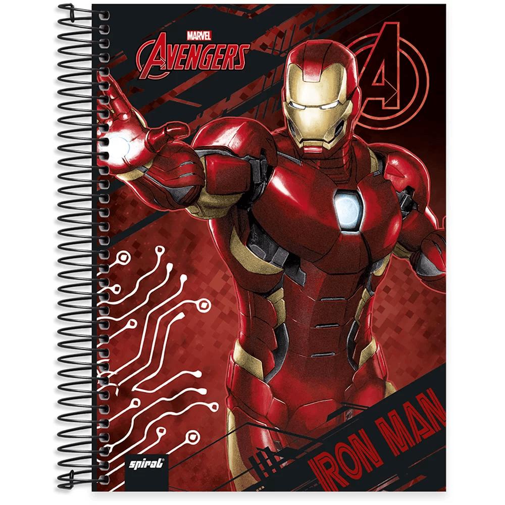 Caderno universitário capa dura 10x1 160 folhas Avengers Homem de Ferro 211806 Spiral PT 1 UN