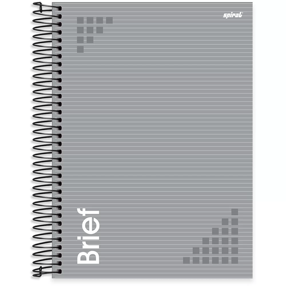 Caderno universitário capa dura 10x1 160 folhas Brief Case Cinza 211956 Spiral PT 1 UN