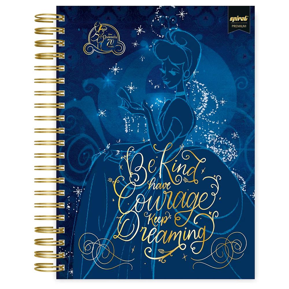 Caderno universitário capa dura 10x1 160 folhas Disney Princesas Premium 211946 Spiral PT 1 UN